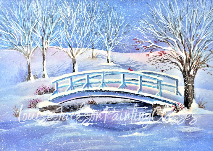 Watercolor painting of a snow covered bridge surrounded by trees.