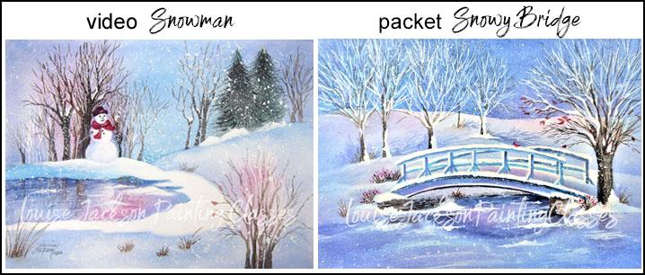 Snow scene watercolor landscape paintings by Louise Jackson.