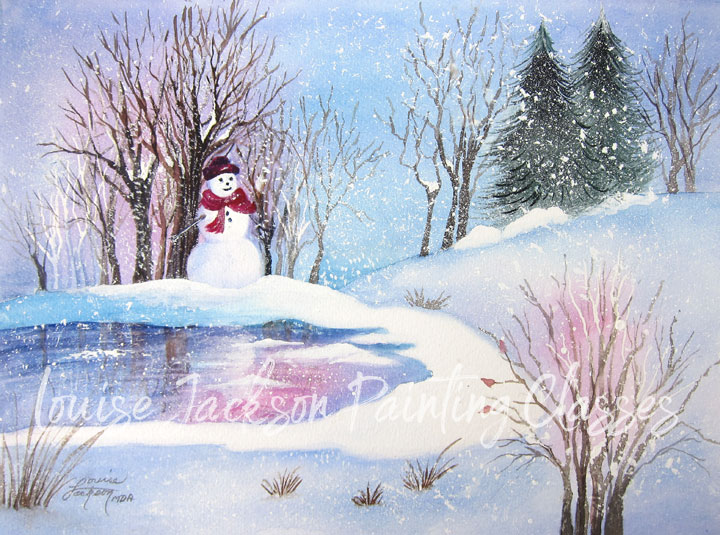 Watercolor painting of a winter snow scene with a frozen pond, snowman, trees, and rolling hills.