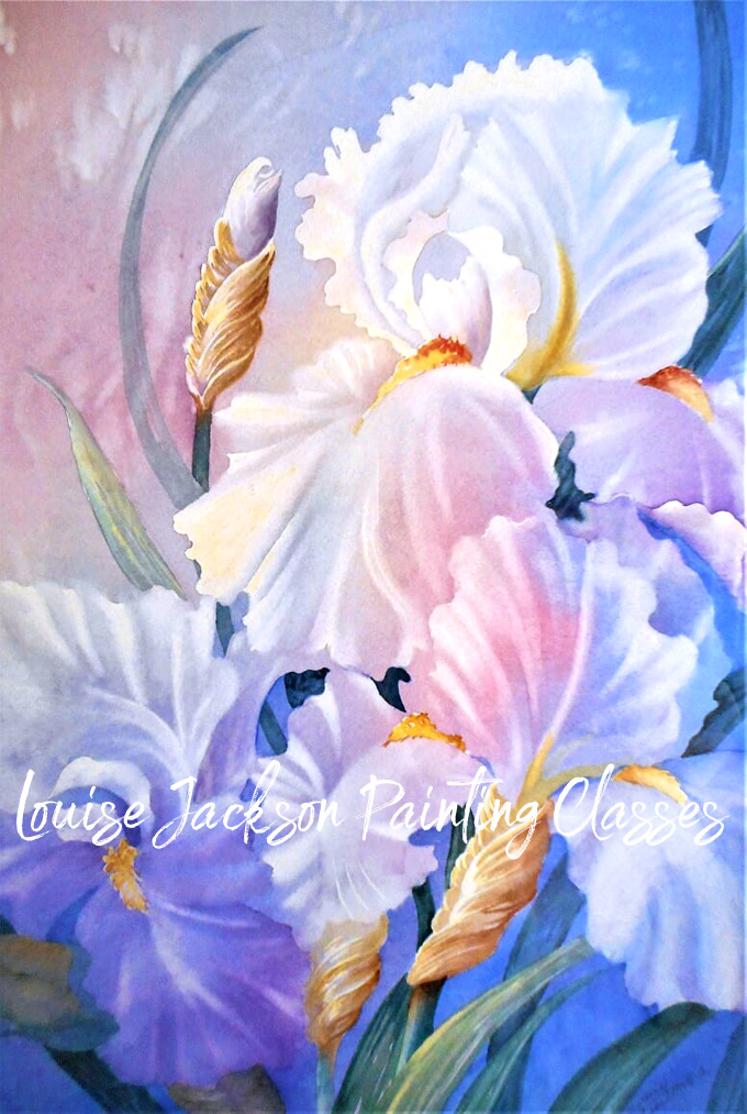 Gossamer Iris watercolor painting by Louise Jackson