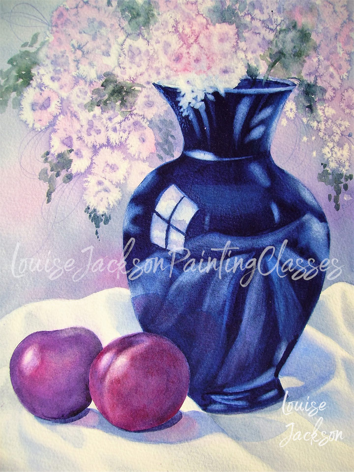 Watercolor painting of a blue vase with flowers and purple plums on white silk.