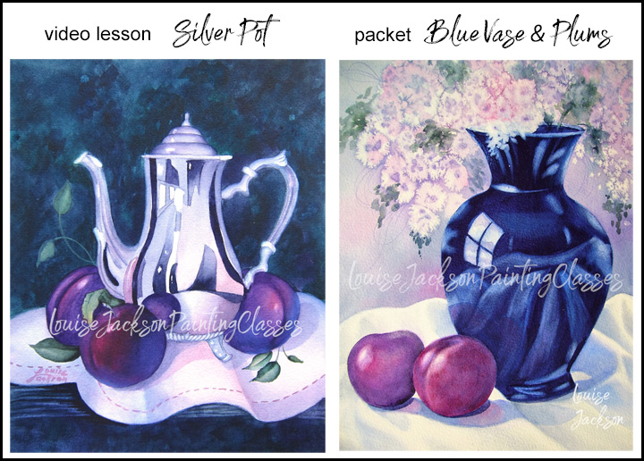 Watercolor painting class video lesson of Silver Pot and Purple Plums and E-Packet of Blue Vase with Plums.