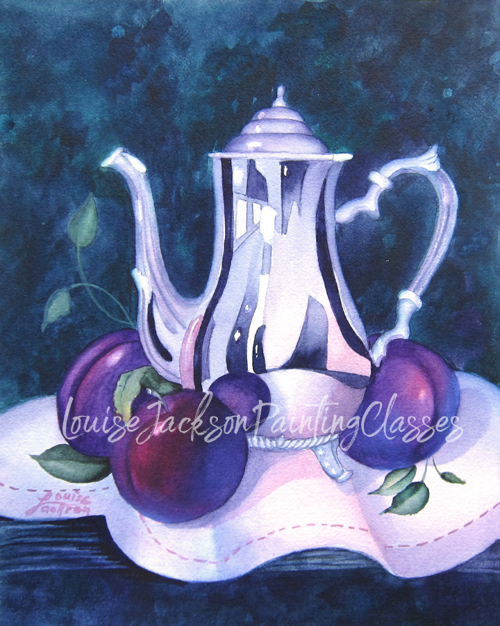 Silver coffee pot and purple plums on lace watercolor painting class image.