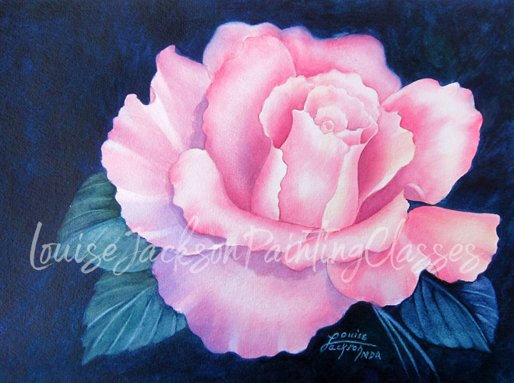 Open pink rose watercolor painting class image