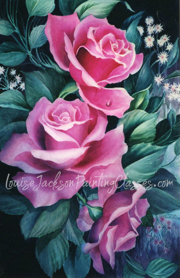 Three pink roses watercolor painting with dark background. E-Packet