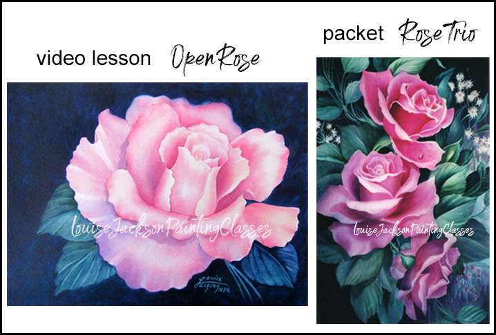 Open Rose Video Lesson image and Rose Trio Painting E-Packet image