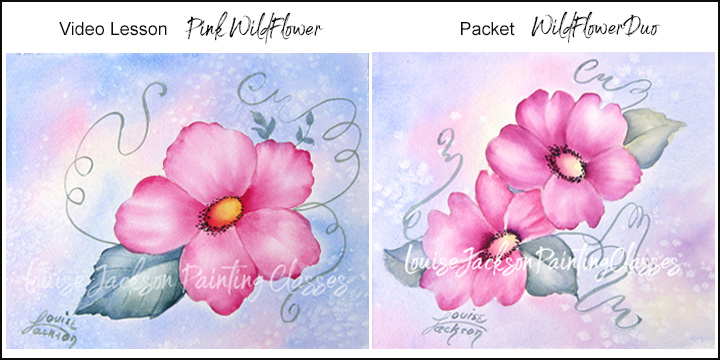 Pink Wildflowers online painting class images.