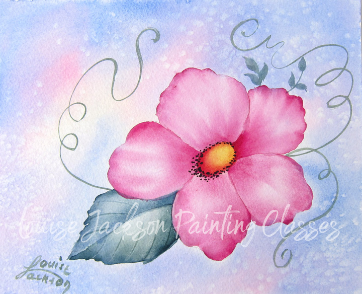Pink wildflower on a blue, pink, and yellow background painted using watercolors and acrylics.