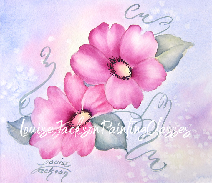 Two pink wildflowers on a pastel background are painted using both acrylics and watercolors.