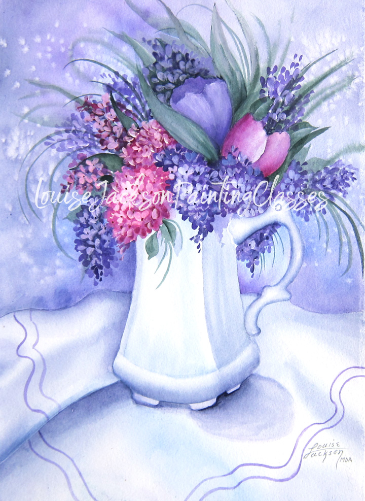 Watercolor painting featuring pretty purple and pink lilacs and tulips in a white ceramic pot on white fabric.