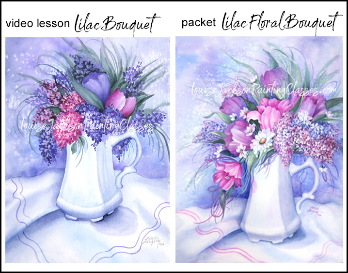 Online video lesson image of a Lilac Bouquet Watercolor Painting and an E-packet of a larger Lilac Floral Arrangement