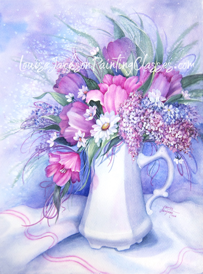 Watercolor painting of lilacs, tulips, and daisies, in a white pot on a piece of white fabric.