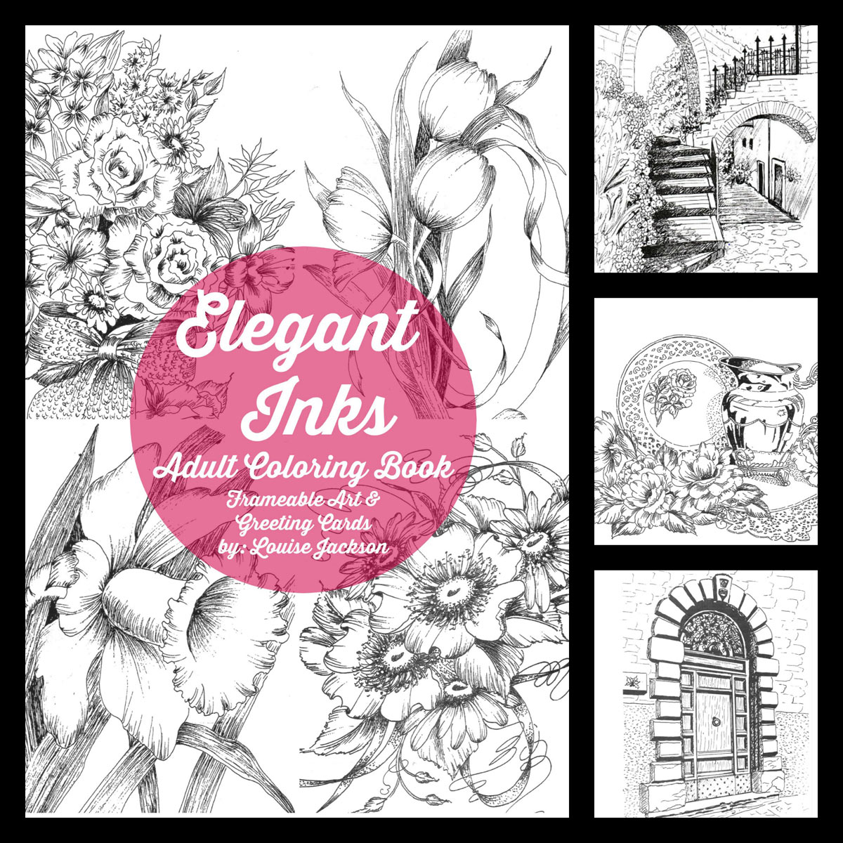 Elegant Inks coloring book by Louise Jackson