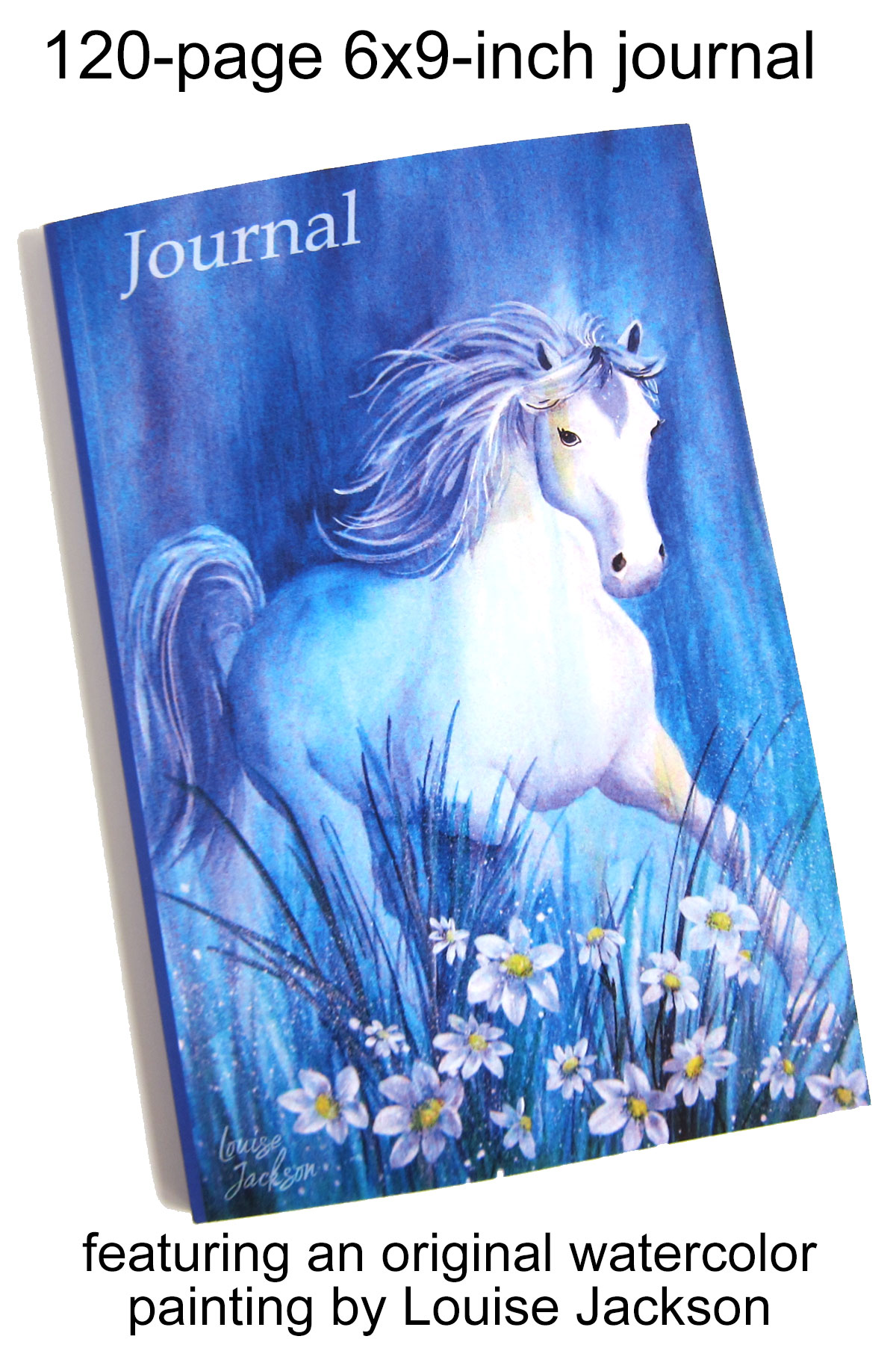 120-page 6x9 journal featuring a horse watercolor painting by Louise Jackson.
