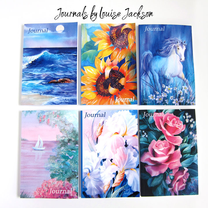 Journals featuring watercolor paintings on the covers.