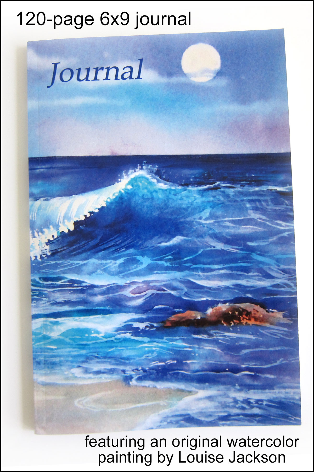 Moon over the Ocean watercolor painting on the cover of a 120-page 6x9 journal.