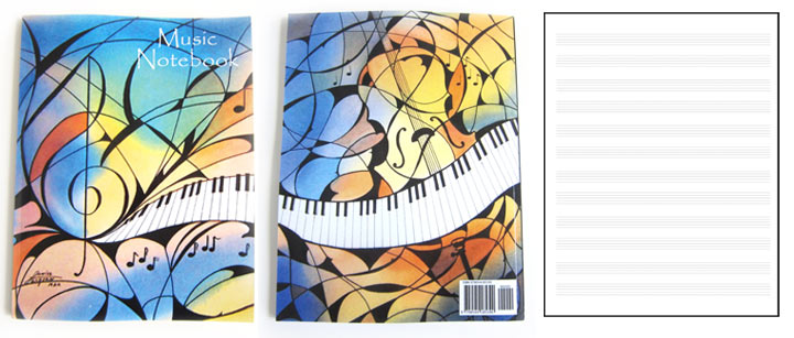 Music Notebook featuring two watercolor paintings by Louise Jackson.
