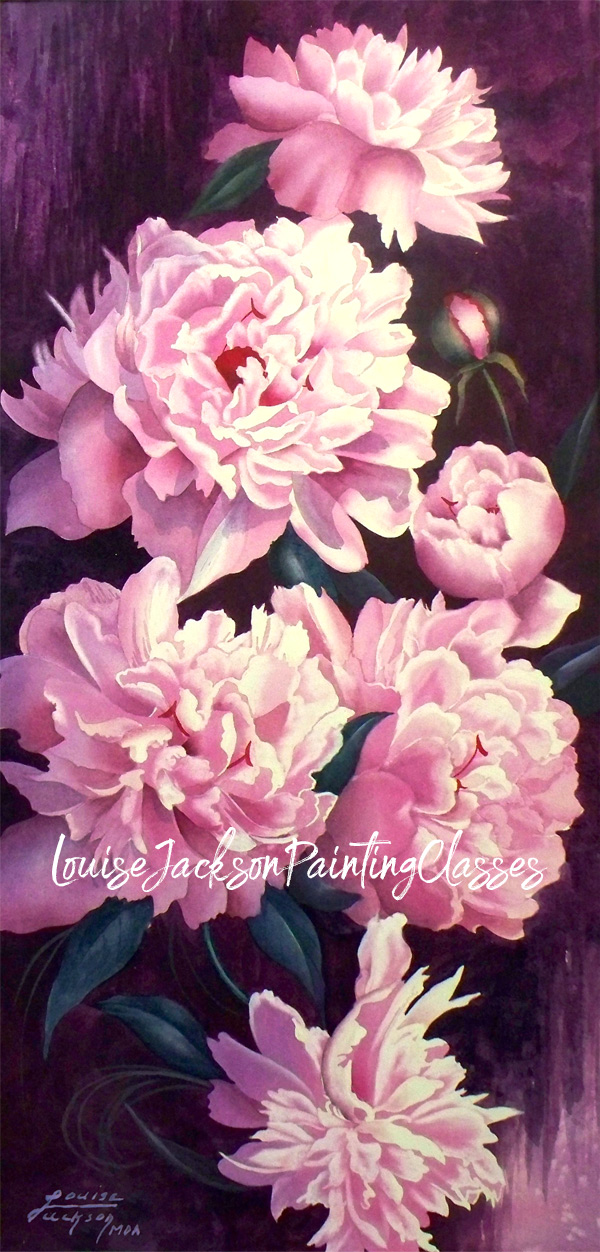 Gorgeous pink peonies on a dramatic burgundy background painted using watercolors by artist, Louise Jackson.