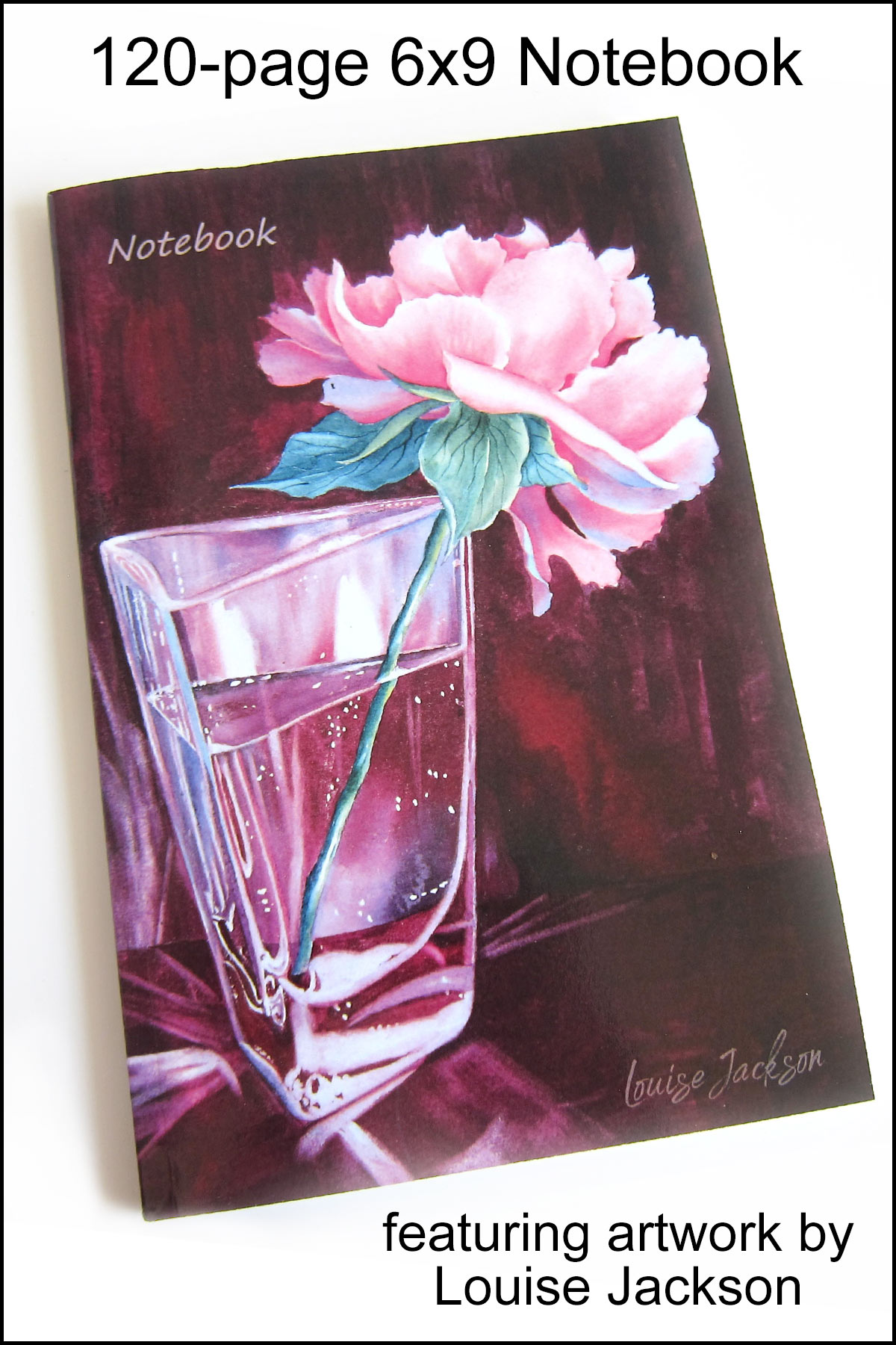 120-page 6x9 notebook with a pink peony watercolor painting on the cover.