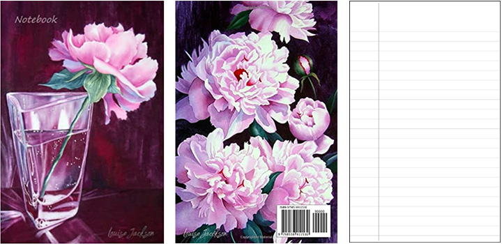 Peony watercolor painting notebook, journal, diary.