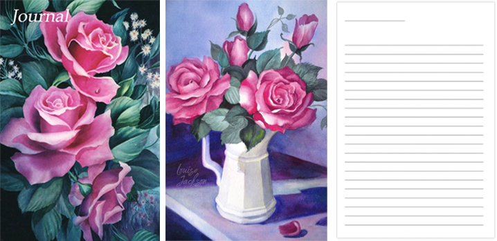 Pink Roses watercolor journal book cover and lined journal page.