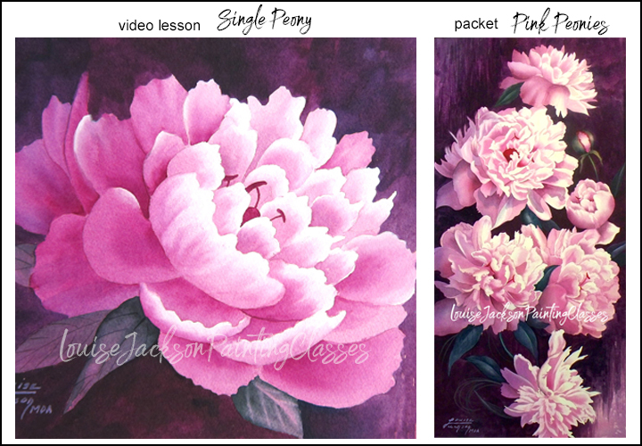 Watercolor peony painting online video classes and e-packets.